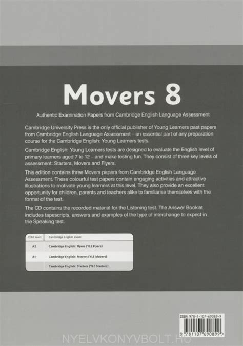 cambridge english movers 8 answer booklet profit24 pl księgarnia internetowa cambridge english movers 8 answer booklet nyelvk 246 nyv forgalmaz 225 s nyelvk 246 nyvbolt nyelvk 246 nyv
