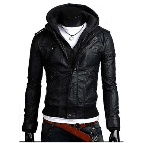 Jaket Hoodie Tgh Black Diskon leather jackets with hoodies for jacketin