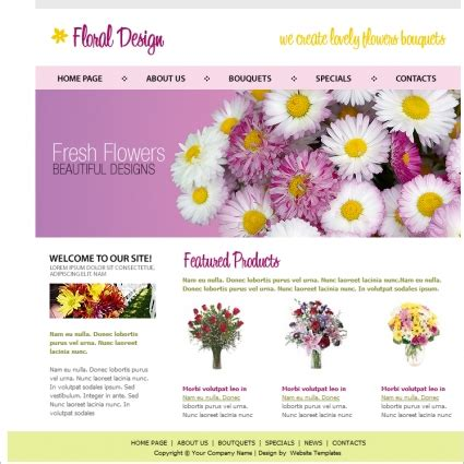 flower design website floral design template free website templates in css html