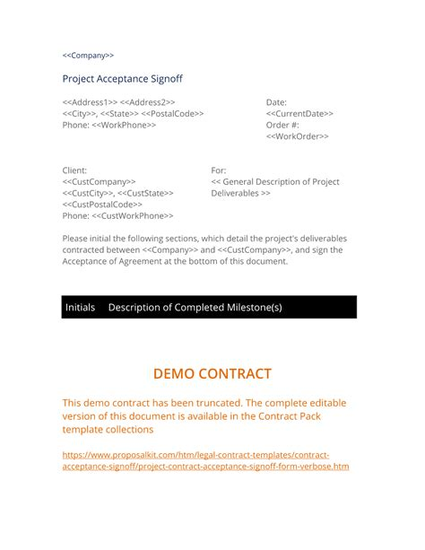 Project Contract Acceptance Signoff Form Verbose 3 Easy Steps Contract Deliverables Template