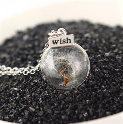 glass seed botanical dandelion taraxacum seed glass orb vial necklace