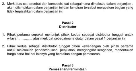 contoh surat perjanjian distributor dalam bentuk format