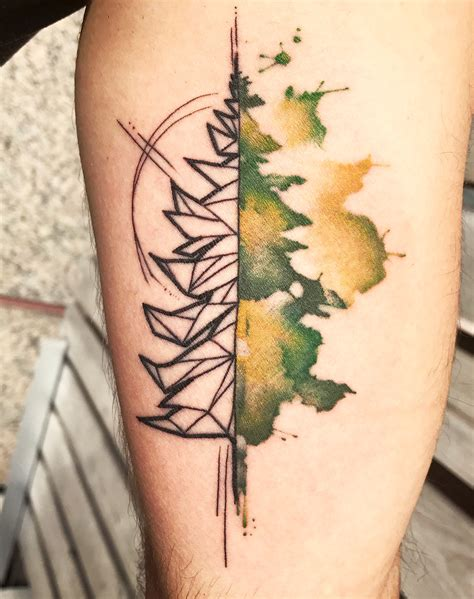 watercolor tattoo upstate ny watercolor and geometric tree by grey at