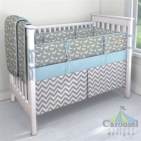 Solid Grey Crib Bedding by Crib Bedding In Gray Deer Solid Mist White And Gray Zig