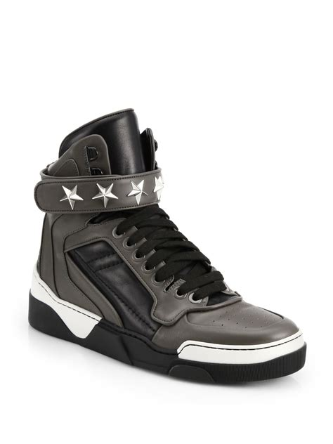 givenchy sneakers givenchy tyson leather high top sneakers in gray for