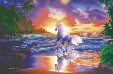 Dragon Wall Mural white horse on seashore fantasy amp abstract background