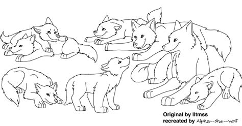 How To Draw Family Pack wolf family lineart png by alpha she wolf on deviantart