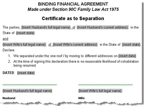 separation agreement ontario template ontario canada separation agreement template