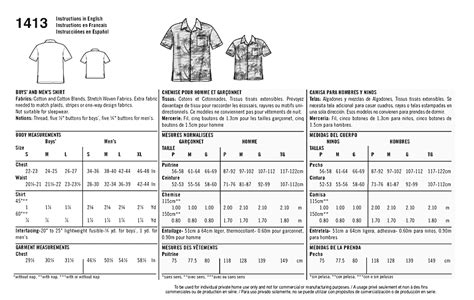 sewing pattern ease chart simplicity 1413 it s so easy shirt for boys and men