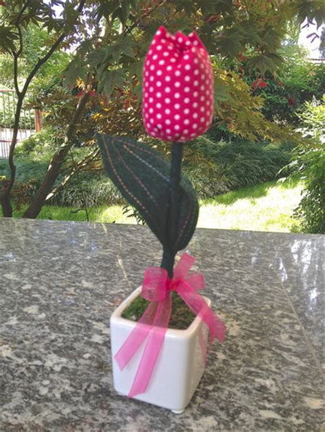 tulipani vaso vaso fiori tulipano fucsia a pois in stoffa per la casa
