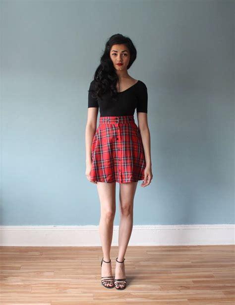 Plaid Mini A Line Skirt tartan mini skirt plaid a line skirt s