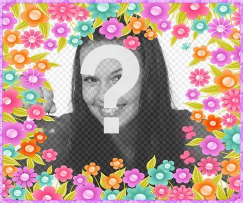 efectos para decorar fotos online marco con abundantes flores coloridas para decorar tus