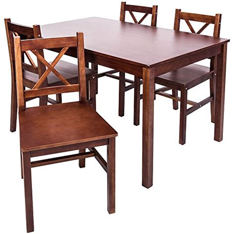 4 Person Dining Table Set Merax 5 Pc Solid Wood Dining Set 4 Person Table And Chairs