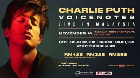 charlie puth voicenotes tour charlie puth brings voicenotes tour to kuala lumpur in