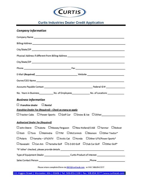 Deere Credit Application Form Credit Application