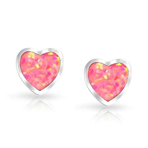 925 Sterling Silver Opal Inlay Heart Stud Earrings