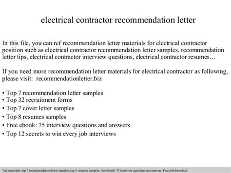 Reference Letter For Contractor Work Electrical Contractor Recommendation Letter