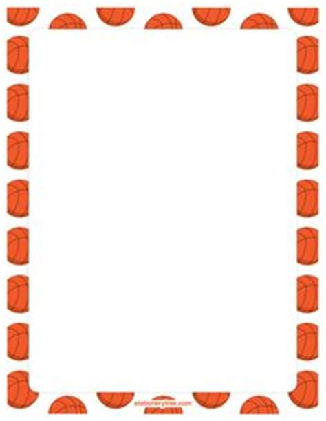 printable basketball stationary basketball page border featuring basketballs courts and