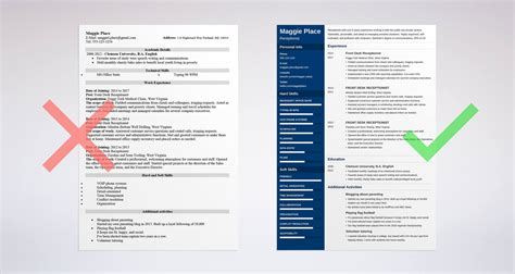 Receptionist Resume by Receptionist Resume Sle Complete Guide 20 Exles