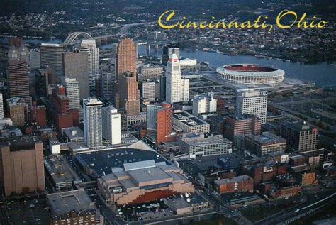 Downtown Cincinnati Gift Card - aerial view of cincinnati ohio riverfront stadium downtown river postcard ebay