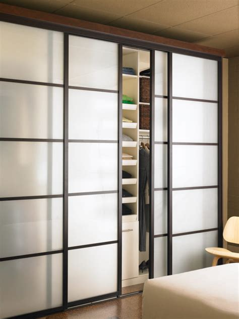 Interior Contemporary Sliding Glass Door In Black For Unique Closet Doors