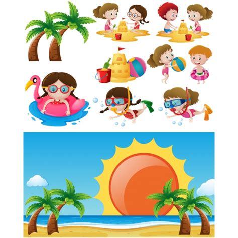 imagenes de niños jugando en la playa dise 241 o de ni 241 os jugando en la playa descargar vectores
