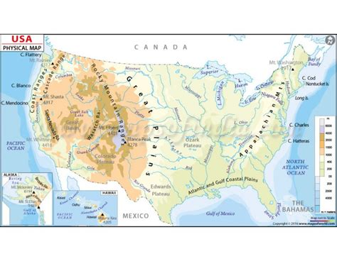 us map with states and geographical features geography physical map of the united states of america