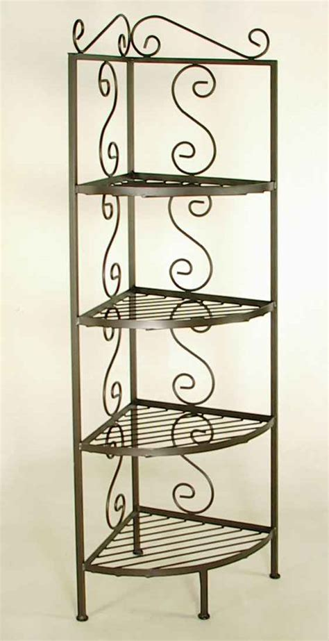 Wrought Iron Corner Bakers Rack by Corner Bakers Rack With Glass