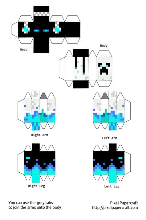 Pixel Papercraft Print - my skin in papercraft easier minecraft