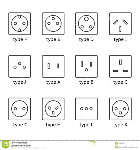 different type power socket set stock vector image 44251017