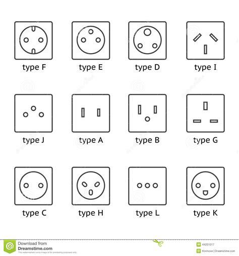 different type power socket set stock vector