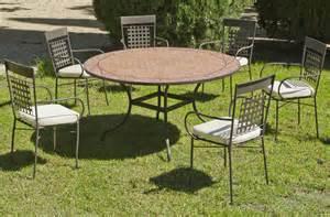 table ronde de jardin et 6 fauteuils belice vigo