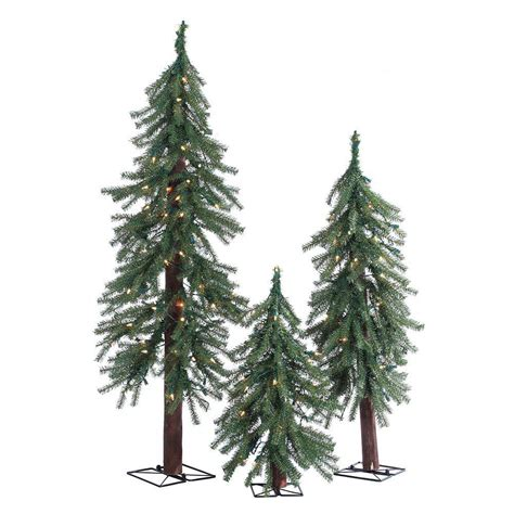 artificial christmas tree 3 pcs sets sterling 2 ft 3 ft and 4 ft pre lit alpine artificial trees with clear lights 3