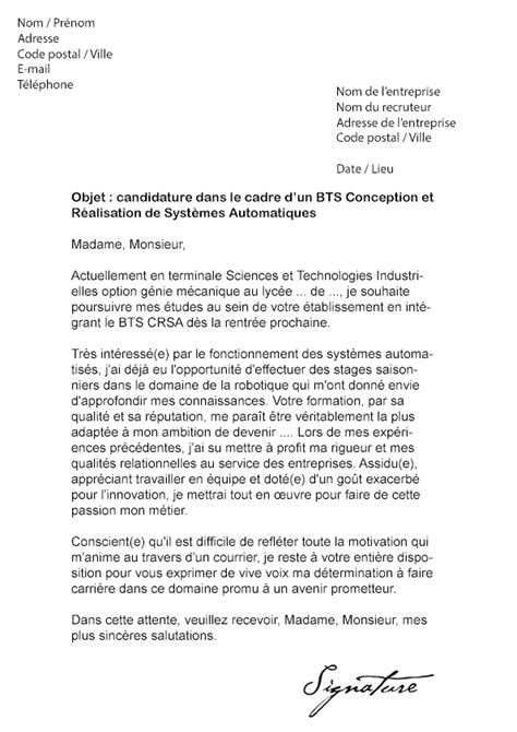 Exemple Lettre De Motivation Bts Lettre De Motivation Bts Crsa Mod 232 Le De Lettre
