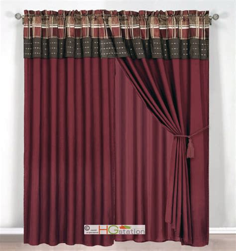 plaid valance curtains 4 pc jacquard autumn plaid curtain set burgundy brown rust