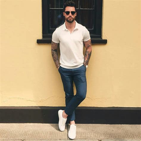 sporty white polo shirt casual comfortable white shoes