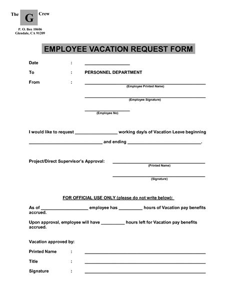 employee vacation request form template best photos of vacation request form pdf vacation