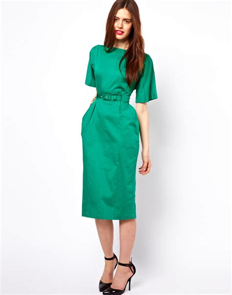 asos wiggle dress with belt in green lyst