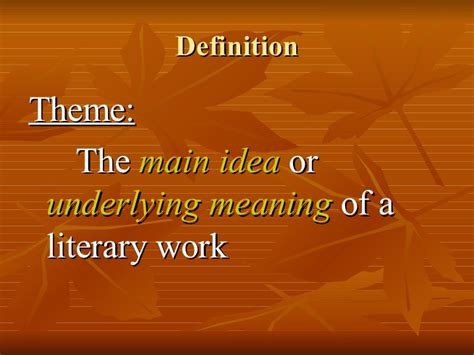 theme definition english exles theme in literature