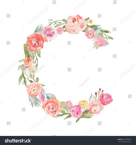 floral watercolor flower monogram letter c made of flowers