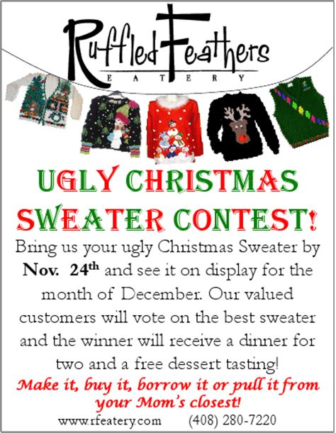 ugly christmas sweater poems the san jose ruffled feathers eatery sweater contest