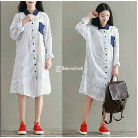 Fashion Wanita 8 baju kemeja wanita dress korea fashion terbaru hem panjang murah dijual tribun jualbeli