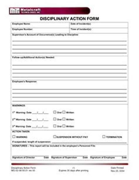 1000 Images About Employee Forms On Pinterest Templates Checklist Template And Interview Disciplinary Forms Free Template
