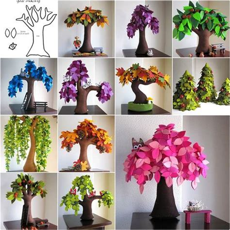 Creative Handmade Ideas - diy creative handmade felt trees from template