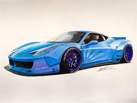 ferrari drawing ferrari 458 lb in baby blue drawing supercar by filo