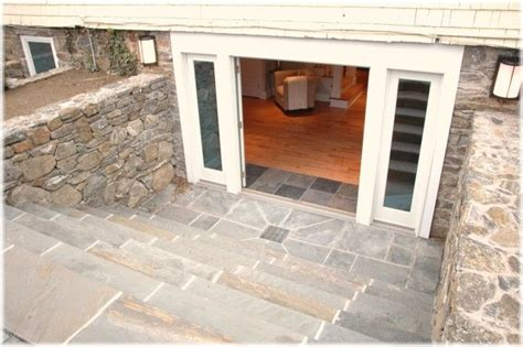 walkout basement entrance with double doors