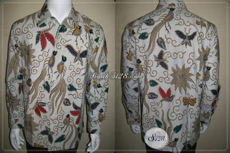 Kemeja Pria Spark Lp Putih kemeja batik pria cap tulis lengan panjang motif burung kupu warna putuh elegan lp409ctf l