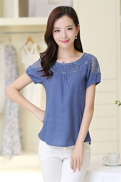 Blouse Blue tomcarry summer casual wear lace blouse blue tomcarry