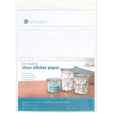 Printable Clear Sticker Paper Silhouette | silhouette printable sticker paper 8 5 quot x11 quot 8 pkg clear