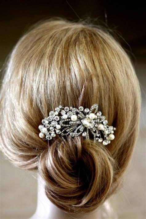 Vintage Bridal Pearl Hair Comb by Vintage Pearl Bridal Hair Accessories Vintage Inspired